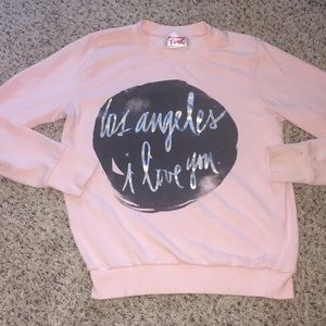 Mighty Fine Tops - Mighty Fine Los Angeles Crew Sweatshirt Pink